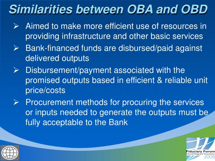 Similarities between OBA and OBD