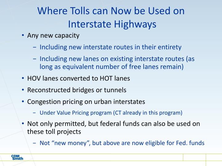 Where Tolls can Now be Used on