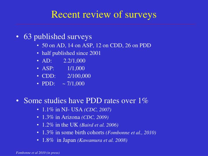 Recent review of surveys