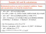 sample d g and k calculations