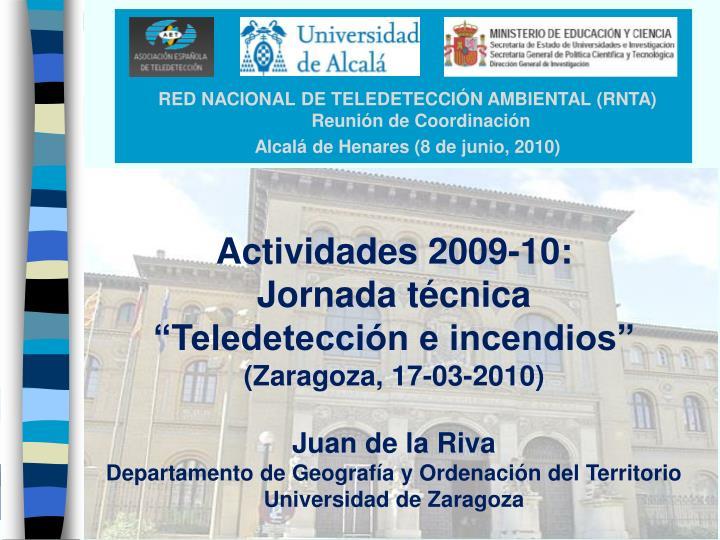 RED NACIONAL DE TELEDETECCIÓN AMBIENTAL (RNTA)