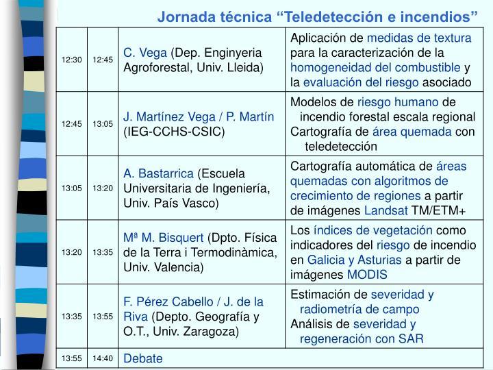 """Jornada técnica """"Teledetección e incendios"""""""