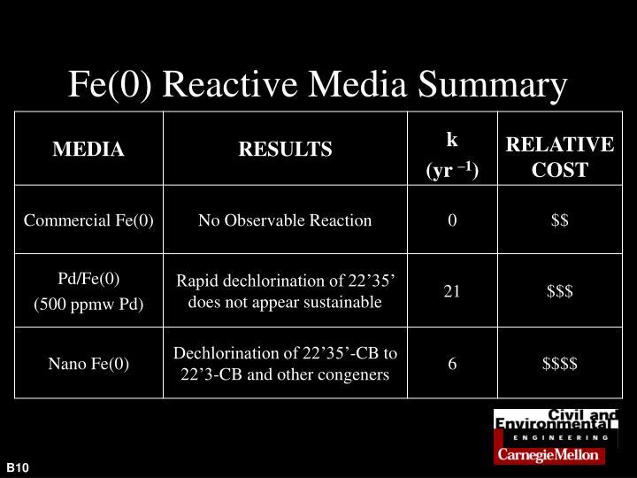 Fe(0) Reactive Media Summary