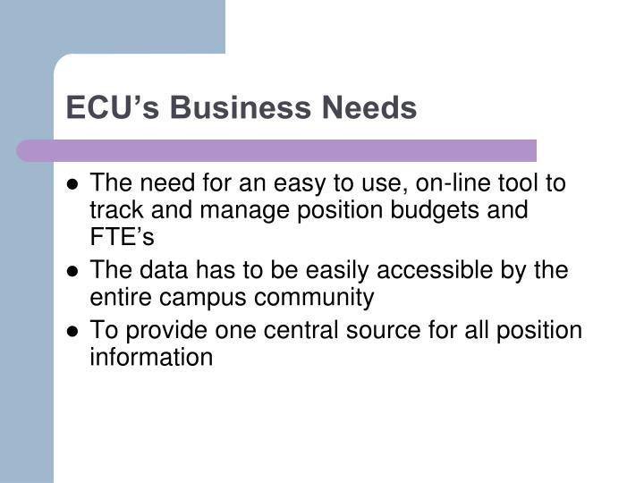 ECU's Business Needs