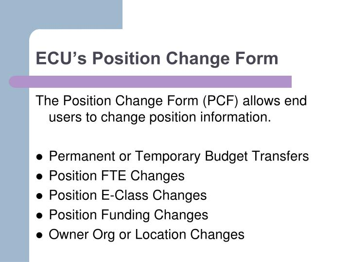 ECU's Position Change Form