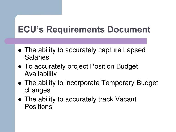 ECU's Requirements Document
