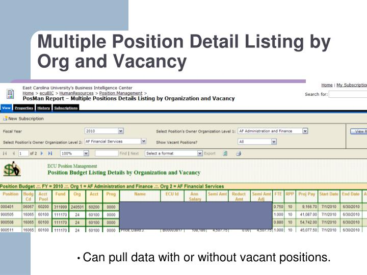 Multiple Position Detail Listing by Org and Vacancy