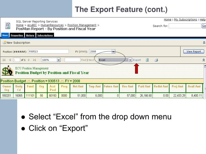 The Export Feature (cont.)