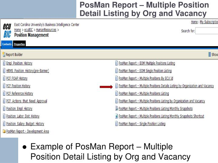 PosMan Report – Multiple Position Detail Listing by Org and Vacancy