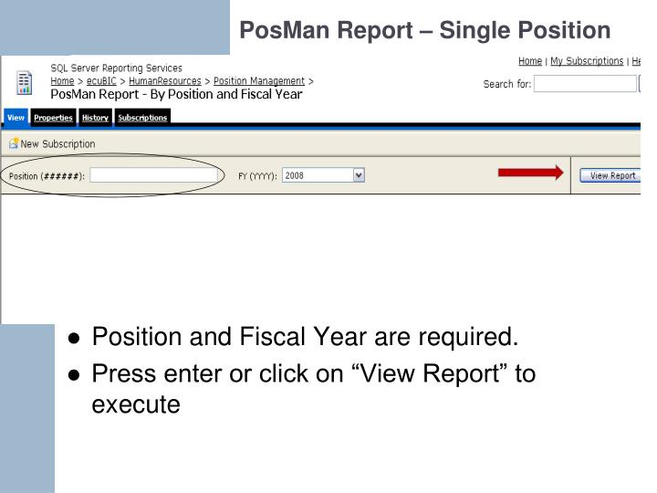 PosMan Report – Single Position