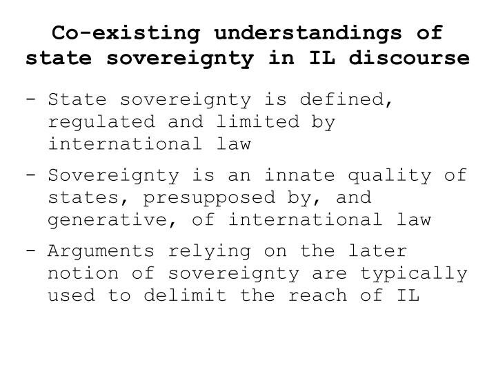 Co-existing understandings of state sovereignty in IL discourse