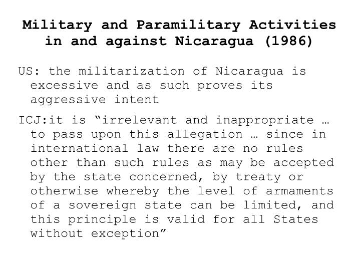 Military and Paramilitary Activities in and against Nicaragua (1986)