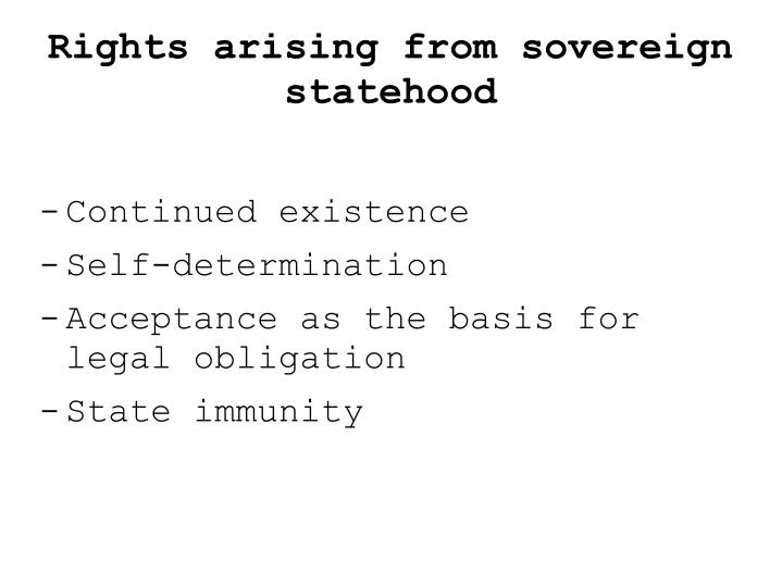 Rights arising from sovereign statehood