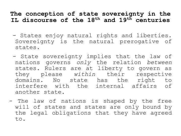 The conception of state sovereignty in the IL discourse of the 18