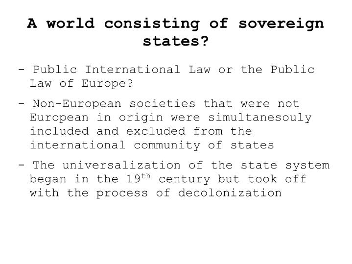 A world consisting of sovereign states?