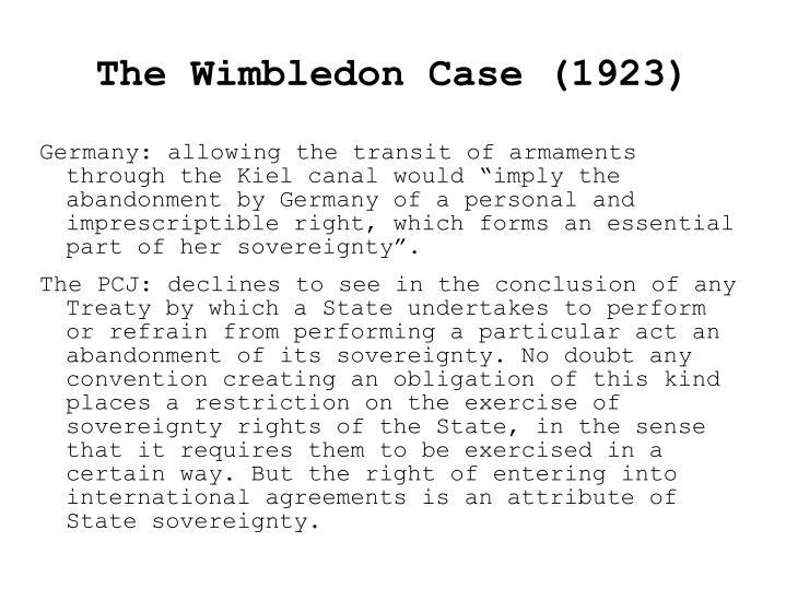 The Wimbledon Case (1923)