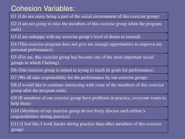 Cohesion Variables: