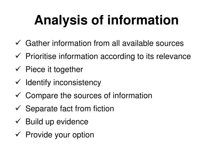 Analysis of information