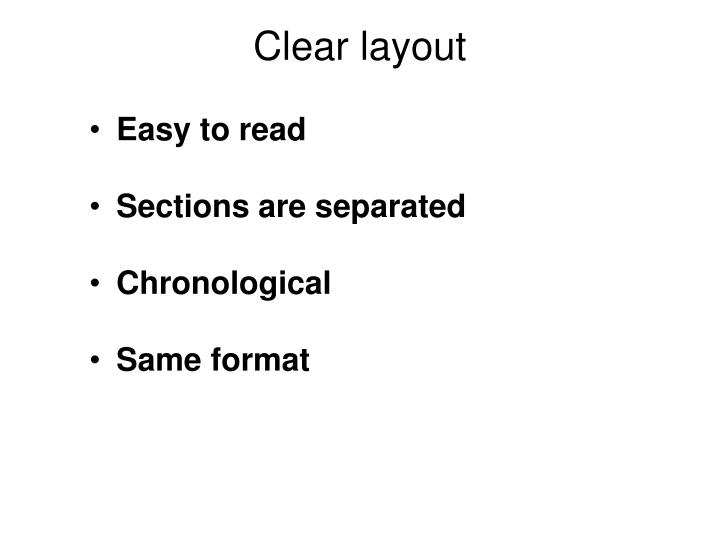 Clear layout