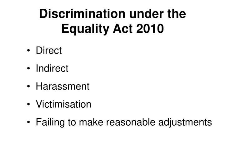 Discrimination under the Equality Act 2010