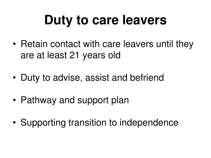 Duty to care leavers