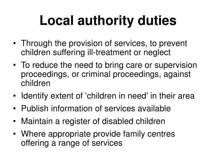 Local authority duties
