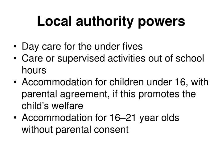 Local authority powers