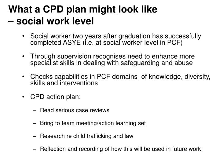 What a CPD plan might look like