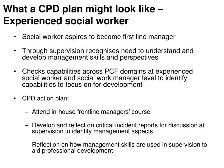 What a CPD plan might look like –