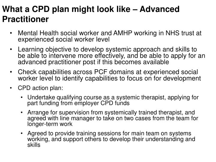 What a CPD plan might look like – Advanced Practitioner