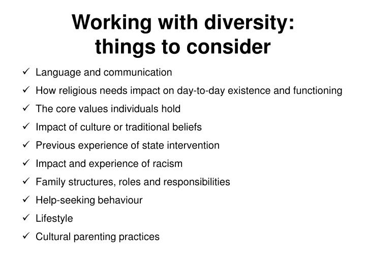 Working with diversity: