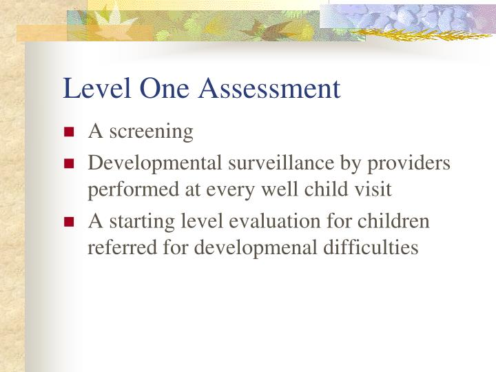 Level One Assessment