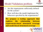 model validation problem
