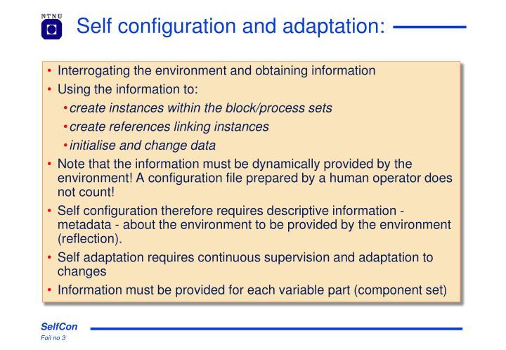 Self configuration and adaptation