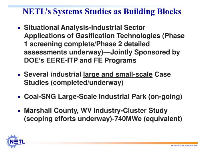 NETL's Systems Studies as Building Blocks