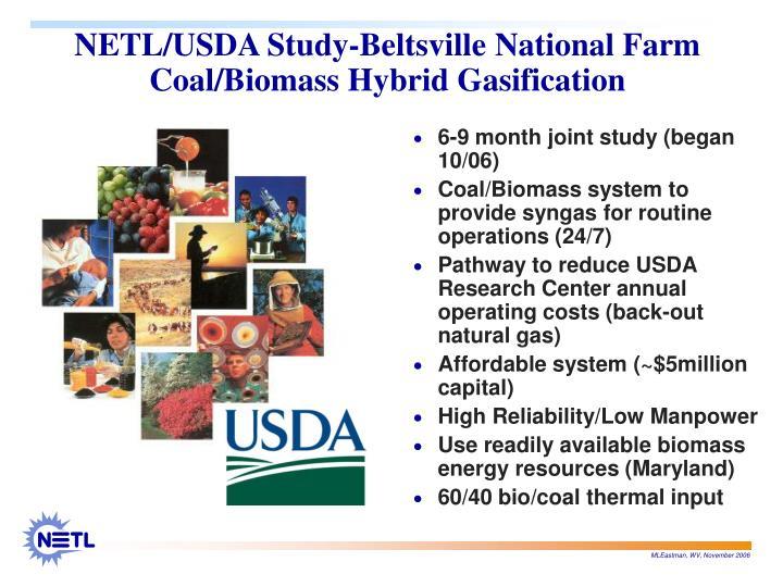 NETL/USDA Study-Beltsville National Farm