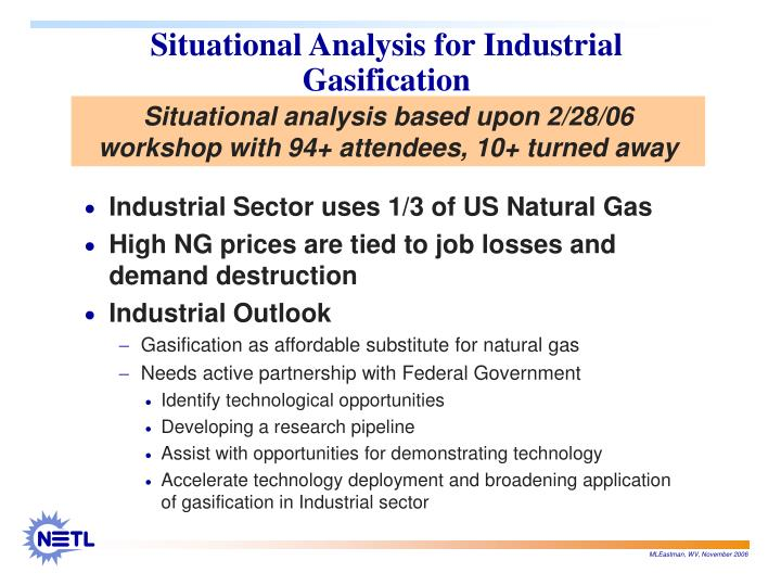 Situational Analysis for Industrial Gasification