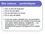 des valeurs symboliques