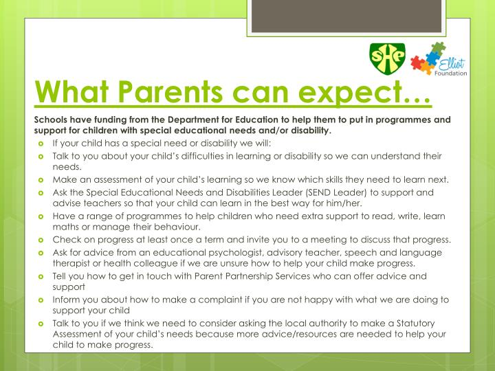 What Parents can expect…