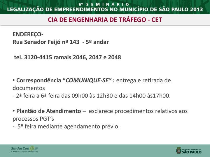 CIA DE ENGENHARIA DE TRÁFEGO - CET