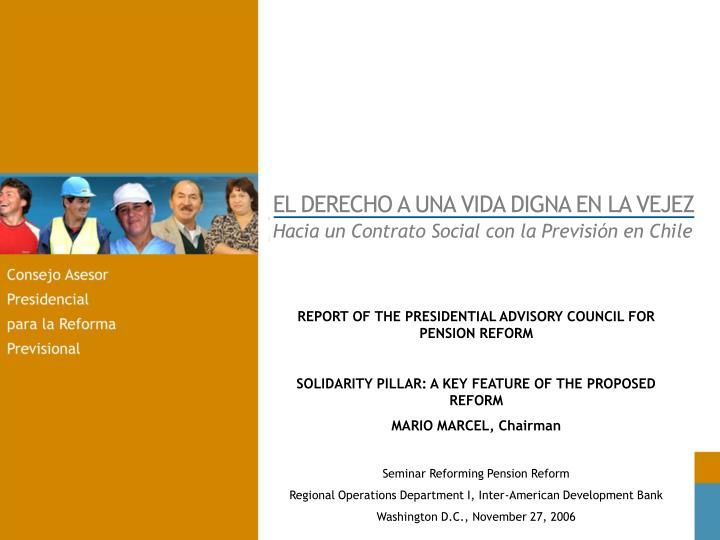 REPORT OF THE PRESIDENTIAL ADVISORY COUNCIL FOR PENSION REFORM