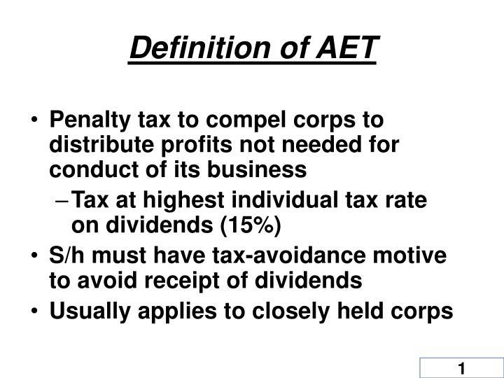 definition of aet n.