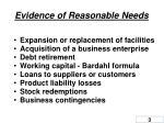 evidence of reasonable needs