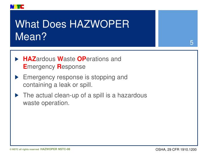 What Does HAZWOPER Mean?