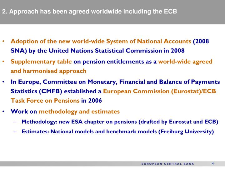 2. Approach has been agreed worldwide including the ECB