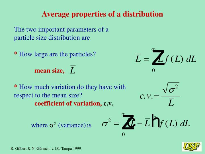 Average properties of a distribution