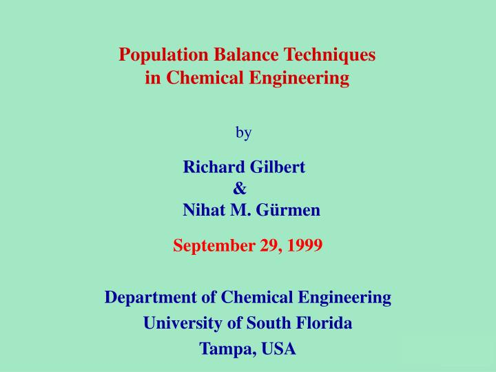 September 29 1999 department of chemical engineering university of south florida tampa usa