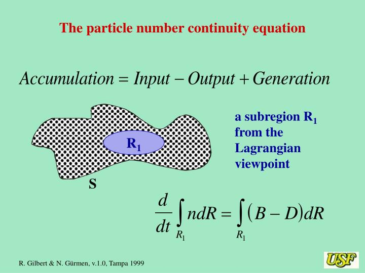 The particle number continuity equation
