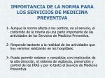 importancia de la norma para los servicios de medicina preventiva