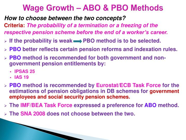 Wage Growth – ABO & PBO Methods